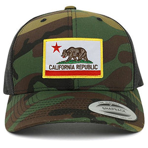 Armycrew Flexfit California Republic Embroidered Patch Snapback Mesh Trucker Cap