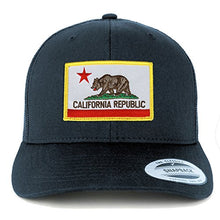 Load image into Gallery viewer, Armycrew Flexfit California Republic Embroidered Patch Snapback Mesh Trucker Cap