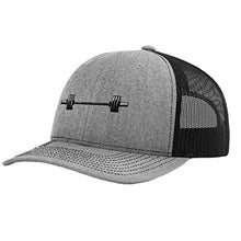 Load image into Gallery viewer, Speedy Pros Barbell Weightlifting Embroidery Design Richardson Structured FrontMesh Cap Heather GrayBlack