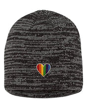 Load image into Gallery viewer, Adult Rainbow Heart Embroidered Marled Knit Beanie Cap