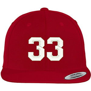 Trendy Apparel Shop Number 33 Collegiate Varsity Font Embroidered Flat Bill Snapback Cap