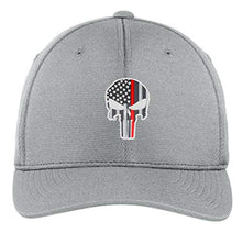 Load image into Gallery viewer, Embroidered Thin Red Line Skull Subdued American Flag Firefighter Flexfit Flex Fit Hat