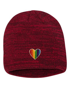 Adult Rainbow Heart Embroidered Marled Knit Beanie Cap