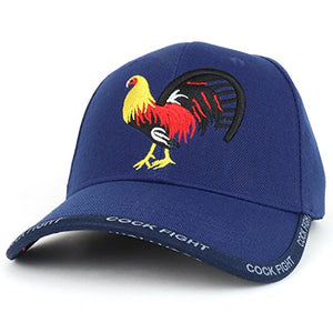 Trendy Apparel Shop Cock Fight Rooster Embroidered Structured Adjustable Baseball Cap