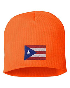 Adult Puerto Rico Flag Embroidered Knit Beanie Cap