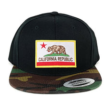 Load image into Gallery viewer, Flexfit California Republic Embroidered Iron On Patch Snapback Cap with Camo Visor