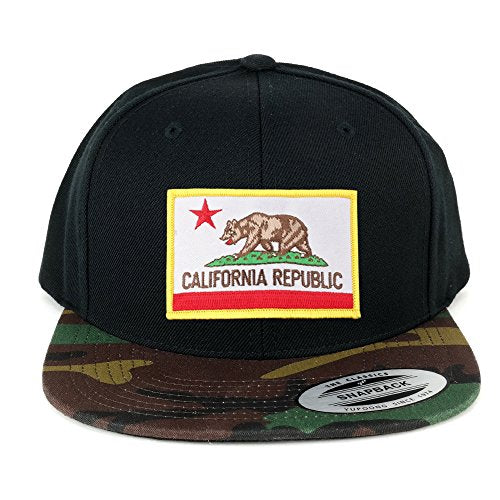 Flexfit California Republic Embroidered Iron On Patch Snapback Cap with Camo Visor