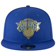 Load image into Gallery viewer, New Era NBA New York Knicks NY 9FIFTY Golden Front Metal Logo Snapback Hat Adjustable Blue Cap