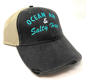 Custom Embroidered Ocean Air and Salty Hair Distressed Trucker Hat Black