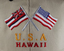 Load image into Gallery viewer, Embroidered USA & Hawaii Flag cap hats Khaki
