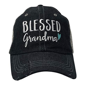 Blessed Grandma Embroidered Baseball Hat Mesh Trucker Style Hat Cap Mothers Day Pregnancy Announcement Dark Grey