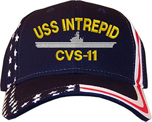Spiffy Custom Gifts USS Intrepid CVS-11 Embroidered Stars & Stripes Baseball Cap Navy