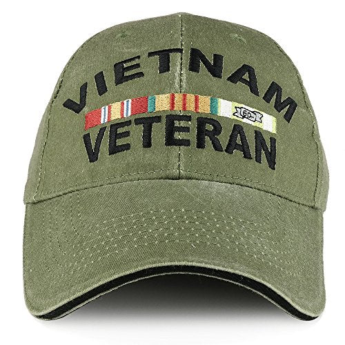 Armycrew Vietnam Veteran Ribbon Embroidered Structured Cotton Baseball Cap - Olive
