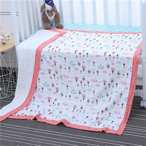 6 layers muslin cotton baby sleeping blanket with wide binding 110*110cm thick breathable baby kids children bed cover blanket - morexial