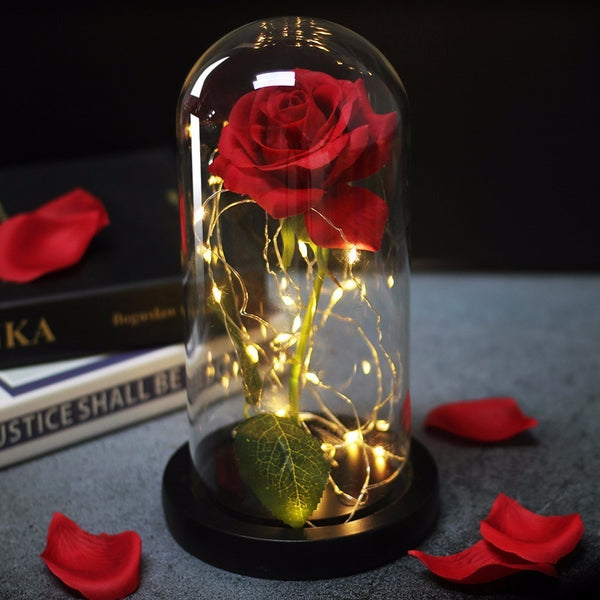 Beauty And Beast Rose In Flask Led Rose Flower Light Black Base Glass Dome Best For Mother's Day Valentines Day Gift - morexial