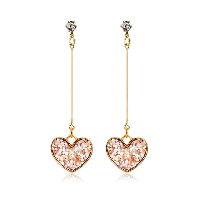 X&P New Korean Heart Statement Drop Earrings for Women - morexial