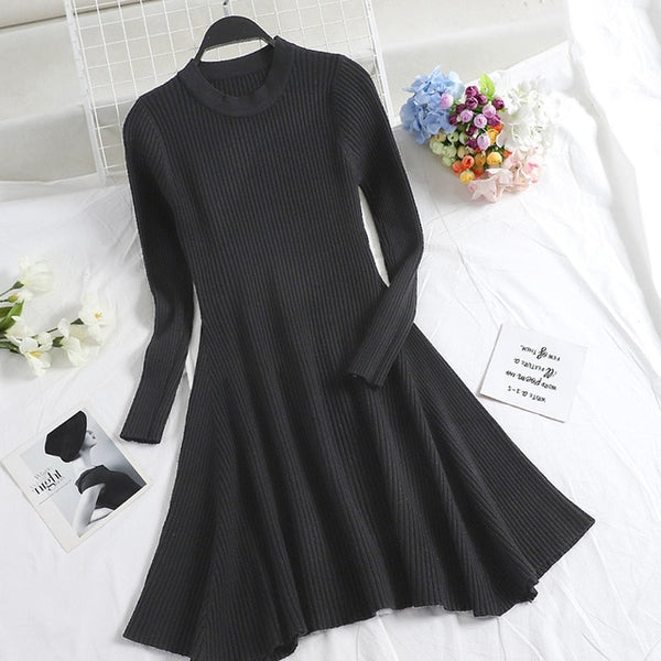 Women Long Sleeve Sweater Dress - morexial