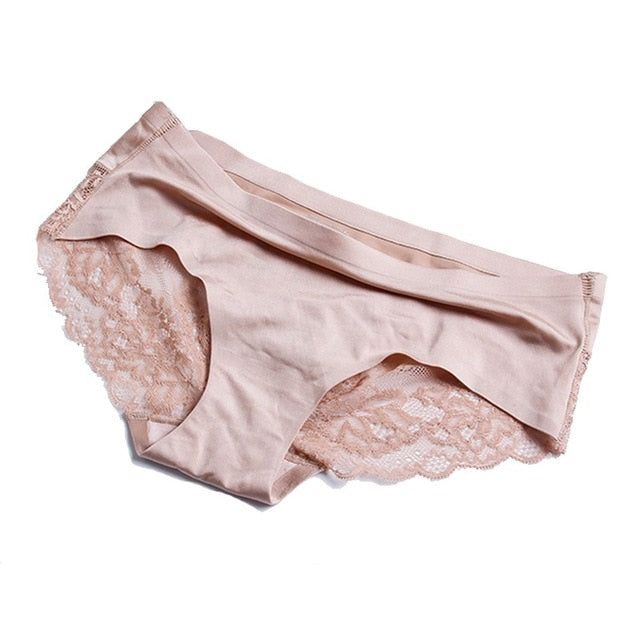 Women's Sexy Lace Panties Seamless Underwear Briefs Nylon Silk - morexial
