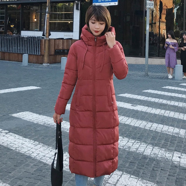 Winter Women Jacket X-long Hooded Cotton Padded - morexial