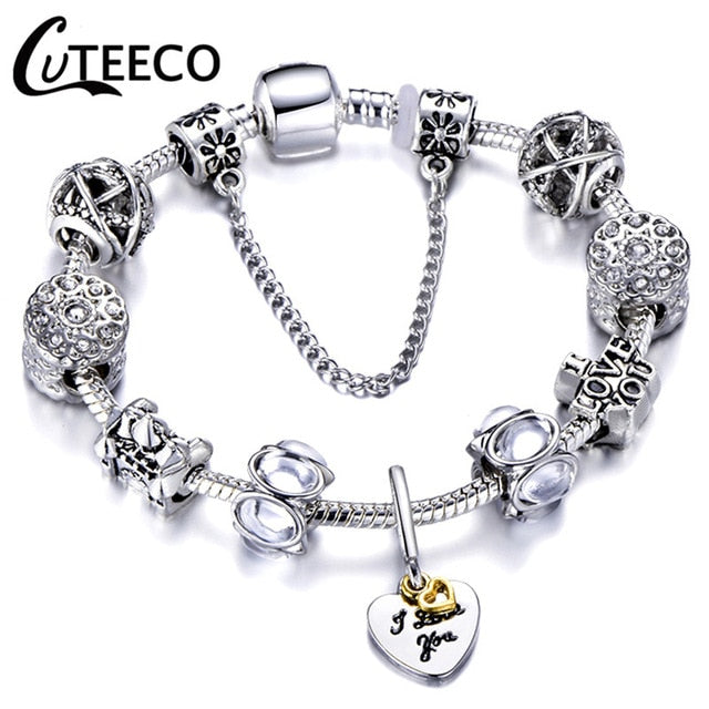 Silver Charms Bracelet Bangle For Women - morexial