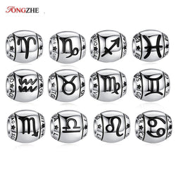 TONGZHE 925 Sterling Silver 12 Constellation Star Zodiac Charms Pandora Charms Original Fit Bracelet Beads for Jewelry Making - morexial