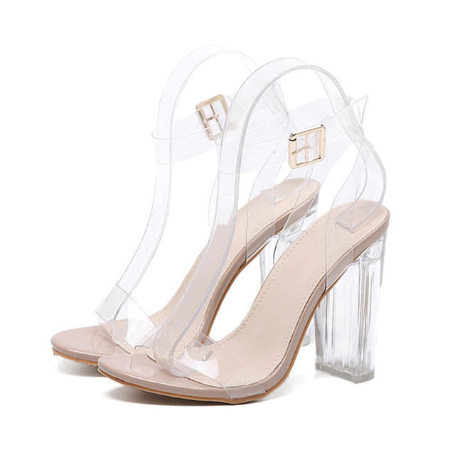 Aneikeh New Women Sandals PVC Jelly Crystal Heel Transparent Women Sexy Clear High Heels Summer Sandals Pumps Shoes Size 41 42 - morexial
