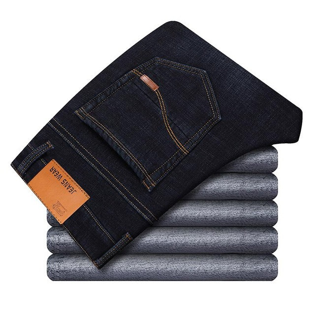 Winter Thermal Warm Flannel Stretch Jeans Mens - morexial