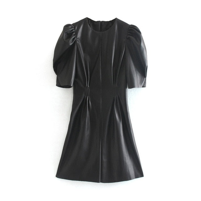 Faux Leather Dress Women Sexy Club Puff Short Sleeve - morexial