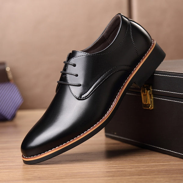 New Black Brown Fashion Men Casual Pointed Top Formal Business Male Wedding Dress Flats Oxfords Men Leather Shoes jkm89 - morexial
