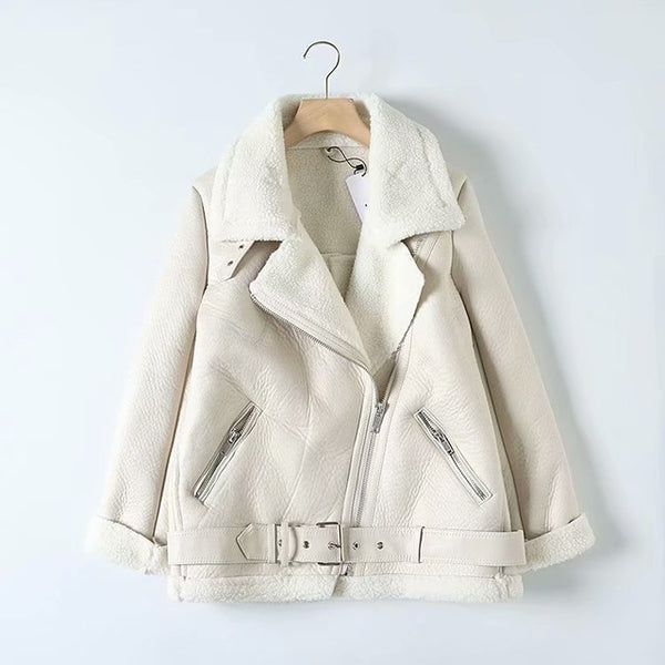 Tangada Women beige fur faux leather jacket coat with belt - morexial
