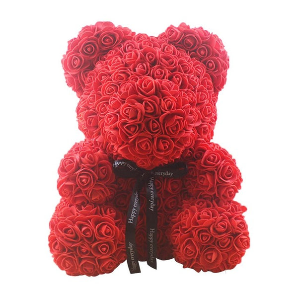 Valentines Day Gift 25cm Red Rose Teddy Bear Soap Foam Artificial Flower Bear Decoration Mother's Day Women Valentines Gift - morexial