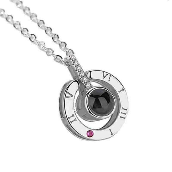 Rose Gold Silver 100 Languages I Love You Shaking Sounds with Projection Clavicle Memory Wedding Necklace Chain Valentine 2019 - morexial