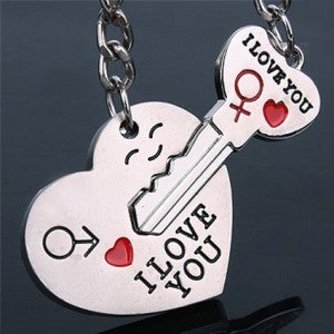 Novelty Casual Couple Love Keychain Cartoon Key chain Lovers Key ring Women Wedding Jewelry Accessory Valentines Gift - morexial