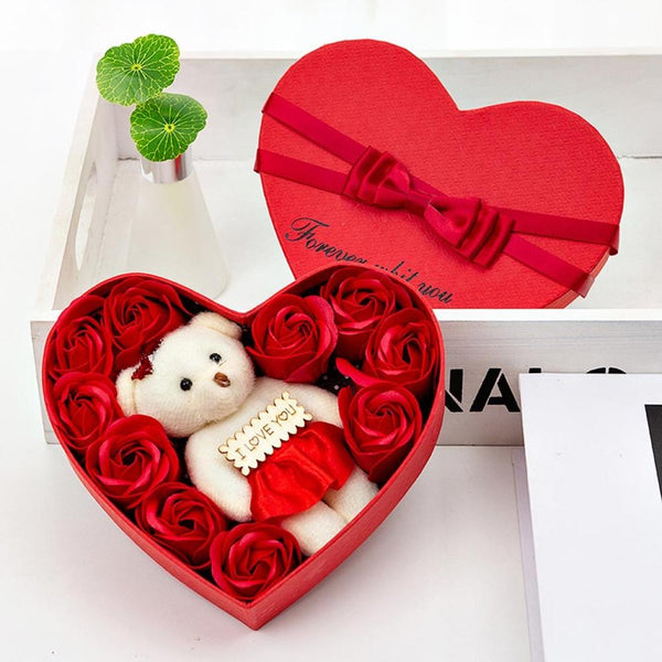 valentines day gift HOT Valentine's Day Creative Gift  Rose Teddy Bear Rose Flower Artificial Decoration Forever Love - morexial