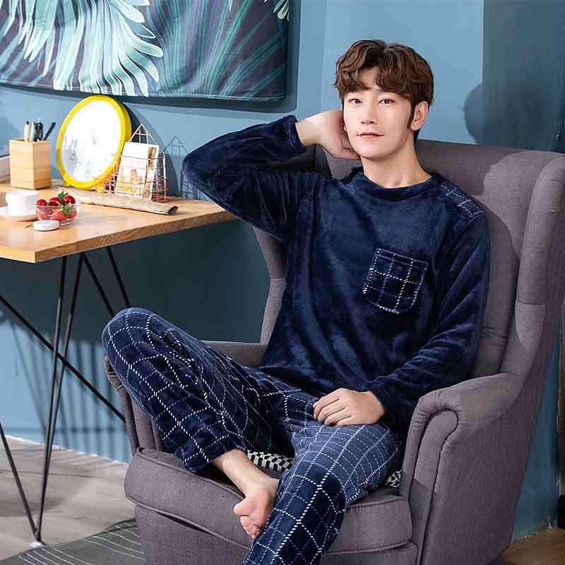 Winter Thick Warm Blue Flannel Pajama Sets for Men - morexial