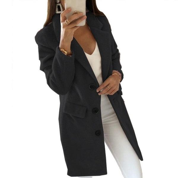 3-5XL China Code Autumn Winter Long Sleeve Cardigan Solid Color Women Lapel Blazer Jacket Coat Women's Clothing - morexial