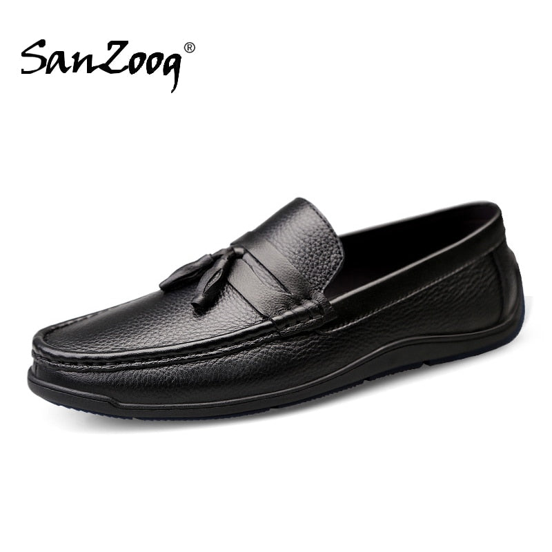Sanzoog Genuine Leather Slip On Men's Loafers Casual Shoes Men Mocasines Hombre Lofer Man Loafer White Black Trend 2020 Loffers - morexial