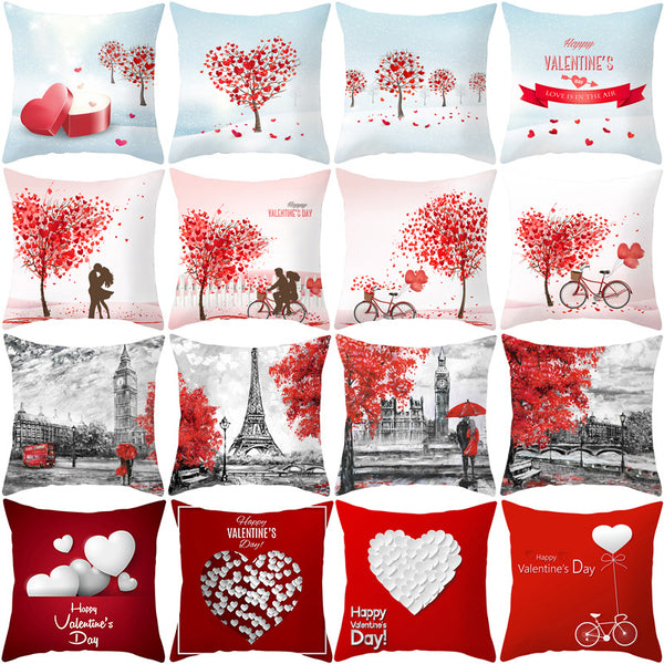 2020  Valentine Day Decoration Cushion Covers Pillowcase Cushions for Sofa Polyester Pillowcover Valentine Gift Home Decor 45*45 - morexial