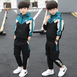 Spring Autumn Teenager Boy Clothes Kids Cotton Casual Sports Suit Children  Fashion Tracksuits For 5-14Y New Boys Clothing Sets - morexial