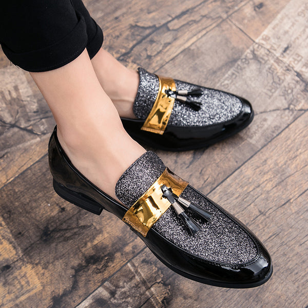 M-anxiu Hot Sale Men Flat Black Golden Formal Patchwork Shoe PU Leather Casual Men Shoes For Man Dress Shoes 2020 New - morexial