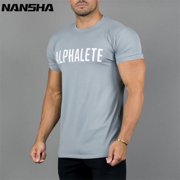 New Bodybuilding and Fitness Mens Short Sleeve Cotton T-shirt - morexial