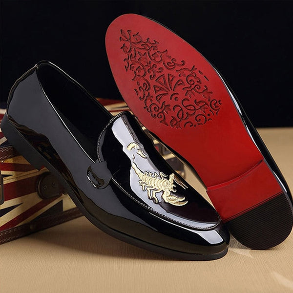 M-anxiu Animal Prints Print Leather Shoes Fashion Classic Doug Men Shoes Business Pointed Toe Leather Bright Wedding Flat Shoes - morexial