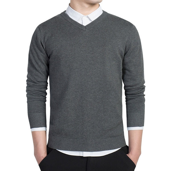V-neck Knitted Sweaters Autumn Fashion Casual Men Sweaters - morexial