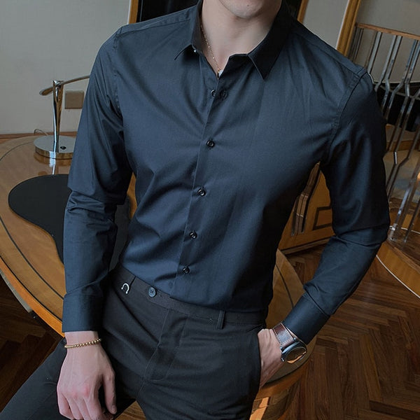 New Fashion Cotton Long Sleeve Shirt Solid Slim Fit - morexial