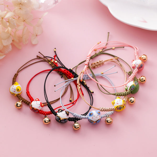 Handmade Colorful Rope Lucky Cat Adjustable Bracelet For Women - morexial