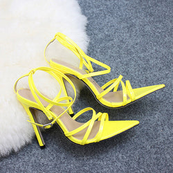 Super High 11.5CM Thin Heels Women Sandals Ankle Strap Pumps Shoes Woman Ladies Pointed Toe High Heels Dress Party Shoes - morexial