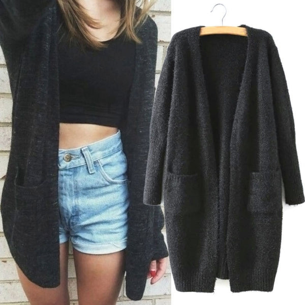 Fashion Casual Loose Solid Women Winter Long Sleeve Jumper Knit Sweater V-Neck Cardigan Top Slim Outwear Coat Autumn Clothes - morexial