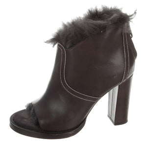 Brunello Cucinelli Fur Peep-Toe Booties