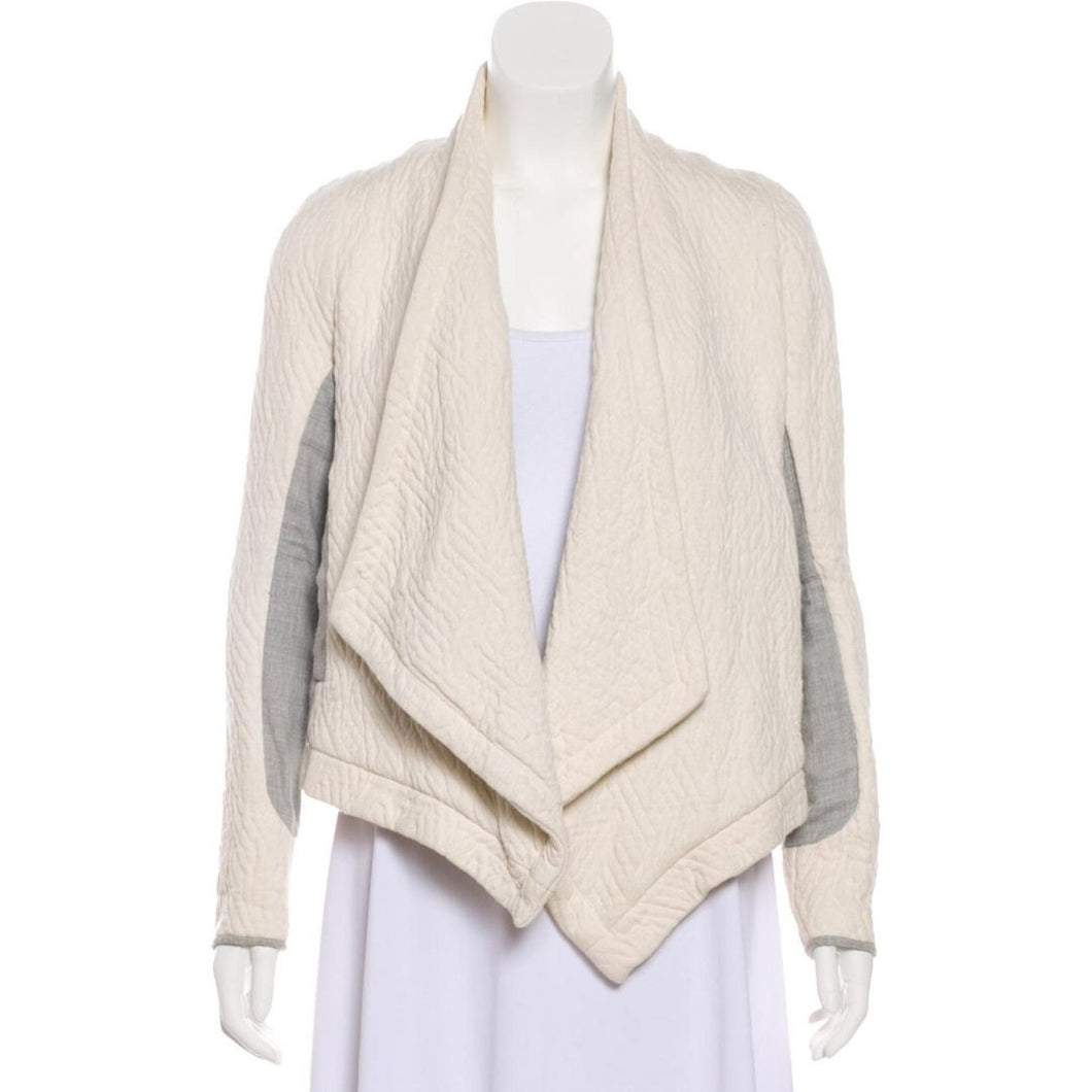 Ulla Johnson Quilted Open Front Cardigan Jacket (Cream/Gray)