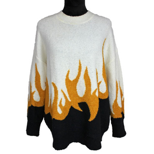 Wildfox Fire Hex Flames Sweater (White/Yellow)